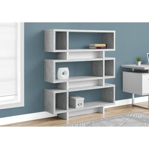 """Gallery - BOOKCASE - 55""""H / WHITE / CEMENT-LOOK MODERN STYLE"""