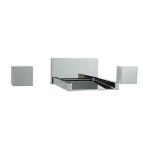 Quarto 3 Hole Wall Mount Tub Filler, Open Extended Spout, Chrome