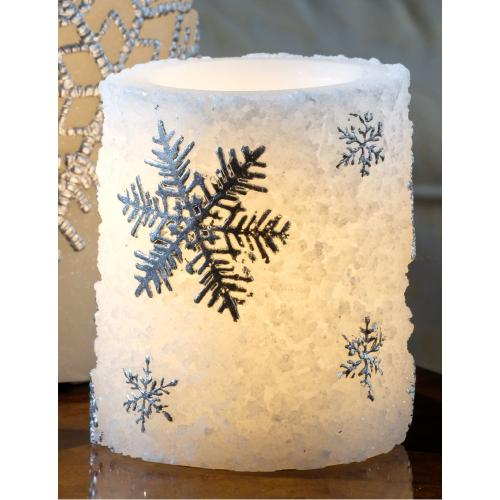 """4"""" Silver Snowflake Candle"""