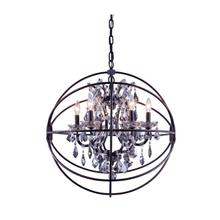 Geneva 6 light Dark Bronze Chandelier Silver Shade (Grey) Royal Cut crystal