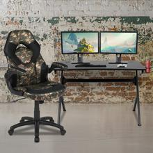 Black Gaming Desk and Camouflage\/Black Racing Chair Set with Cup Holder, Headphone Hook & 2 Wire Management Holes