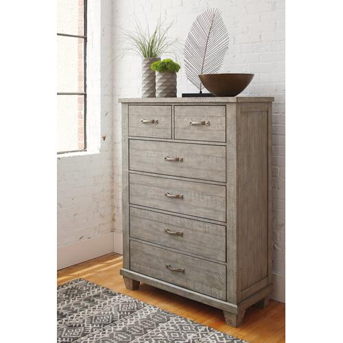 Ashley - California King Panel Bed With 2 Storage Drawers With Mirrored Dresser and Chest