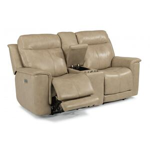 Flexsteel  Miller Power Reclining Loveseat with Console & Power Headrests & Lumbar