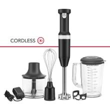 Cordless Variable Speed Hand Blender with Chopper and Whisk Attachment - Black Matte