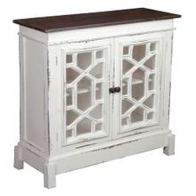 Cottage Lattice Cabinet - Distressed White and Mahogany Top