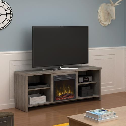 """Classic Flame - Shelter Cove TV Stand for TVs up to 65"""" with Electric Fireplace, Valley Pine"""