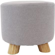See Details - Critter Sitters 10-Inch Gray Upholstered Mini Foot Stool with Wooden Legs, CSFTSTL-GRY