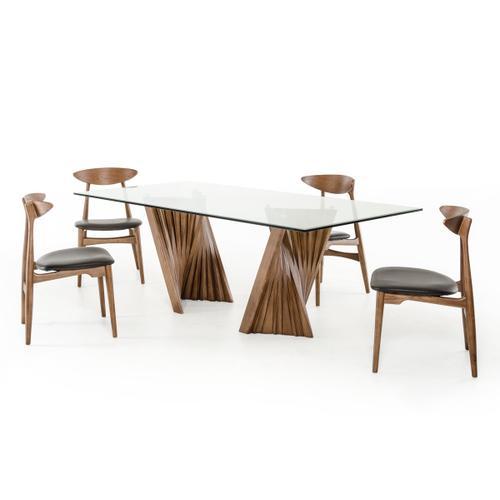 Modrest Corbin Modern Walnut & Glass Dining Table