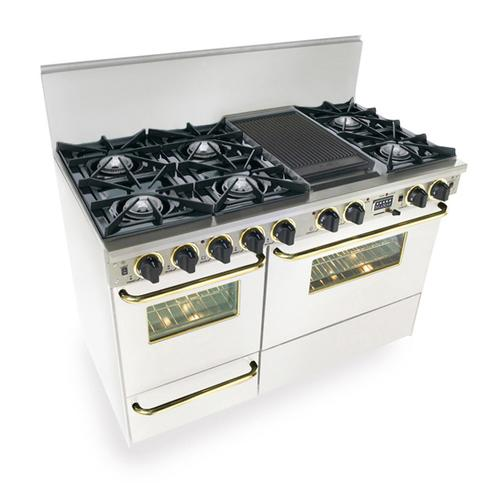 """48"""" Dual Fuel, Convect, Self Clean, Open Burners, White with Brass"""