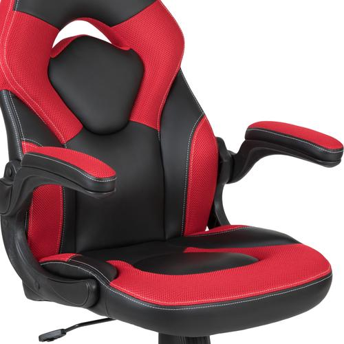 Gallery - Red Gaming Desk and Red\/Black Racing Chair Set with Cup Holder and Headphone Hook