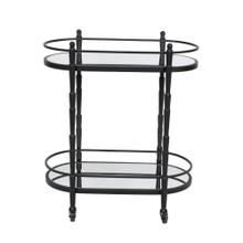 "Metal 28"" 2 Tier Oval Bar Cart, Black"
