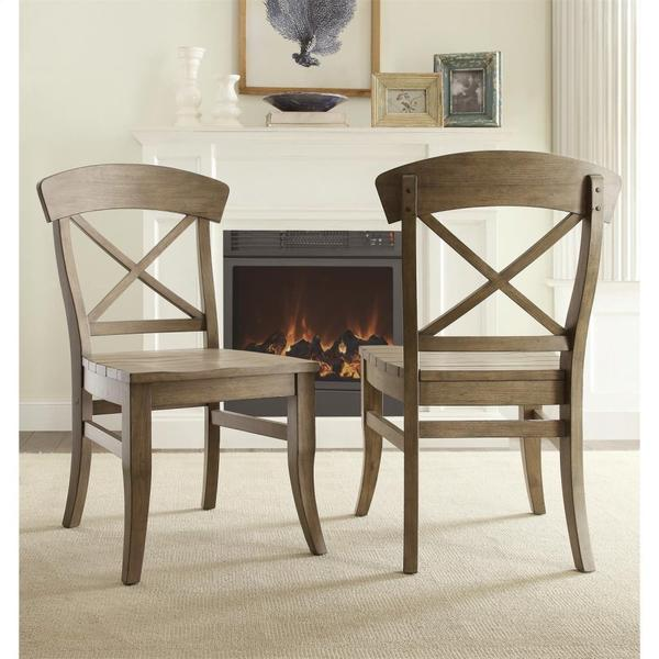 See Details - Regan - X-back Side Chair - Weathered Driftwood Finish