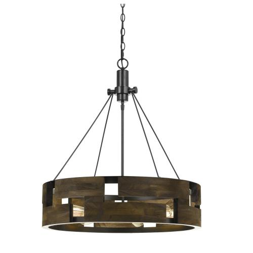 60W X 6 Bradford Metal And Wood Chandelier (Edison Bulbs Not included)