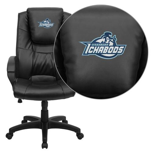 Washburn University Ichabods Embroidered Black Leather Executive Office Chair