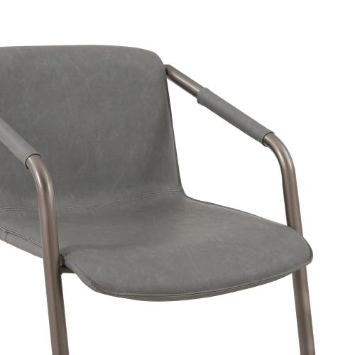 Indy PU Dining Side Chair Silver Frame, Antique Graphite Gray