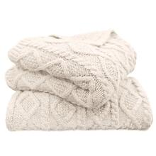 Cable Knit Soft Wool Throw Blanket (3 Colors) - Cream