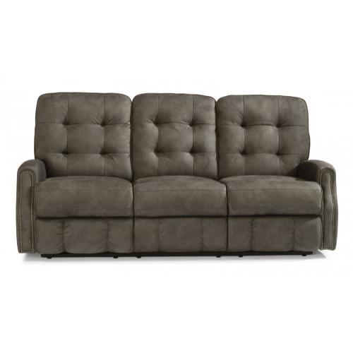 Flexsteel - Devon Fabric Reclining Sofa with Nailhead Trim