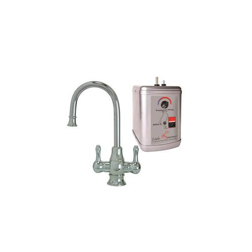 Mountain Plumbing - Hot & Cold Water Faucet with Traditional Curved Body & Curved Handles & Little Gourmet® Premium Hot Water Tank - Tuscan Brass