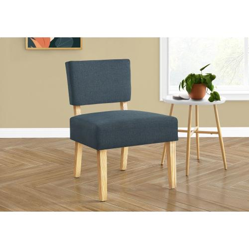Gallery - ACCENT CHAIR - BLUE FABRIC / NATURAL WOOD LEGS