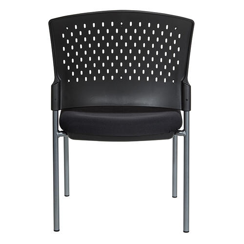 Titanium Finish Armless Visitors Chair With Ventilated Plastic Wrap Around Back