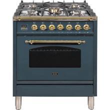 Nostalgie 30 Inch Dual Fuel Natural Gas Freestanding Range in Blue Grey with Brass Trim