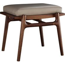 Salvador Dove Leather Walnut Grove Footstool