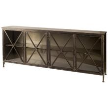Poppy I 79x16 Black Metal With Glass Door Sideboard
