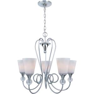 5-lite Chandelier, Chrome/frost Glass Shade, E27 A 60wx5