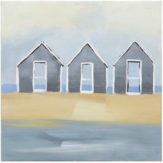 HUOSES BY THE SEA  HAND PAINTED  24in X 24in  By The Sea Hand Painted Canvas