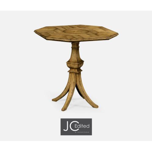 Octagonal Light Brown Chestnut Lamp Table