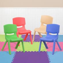 "4 Pack Plastic Stackable School Chairs with 10.5"" Seat Height, Assorted Colors [4-YU-YCX-003-MULTI-GG]"
