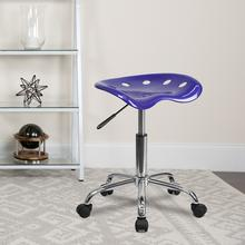 View Product - Vibrant Deep Blue Tractor Seat and Chrome Stool