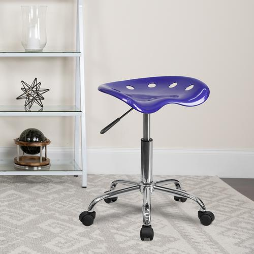 Flash Furniture - Vibrant Deep Blue Tractor Seat and Chrome Stool