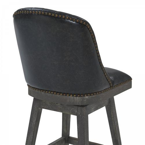 "Armen Living Journey 30"" Bar Height Barstool in American Grey Finish and Onyx Faux Leather"