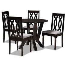 See Details - Baxton Studio Anise Modern and Contemporary Grey Fabric Upholstered and Dark Brown Finished Wood 5-Piece Dining Set