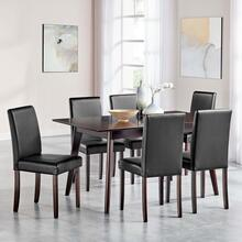 Prosper 7 Piece Faux Leather Dining Set in Cappuccino Black