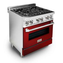 """See Details - ZLINE 30"""" 4.0 cu. ft. Dual Fuel Range with Gas Stove and Electric Oven in Stainless Steel (RA30) [Color: Red Gloss]"""