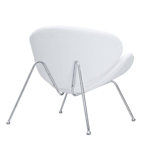 Nutshell Upholstered Vinyl Lounge Chair in White