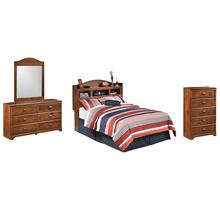 Full Bookcase Headboard With Mirrored Dresser and Chest