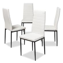 View Product - Baxton Studio Armand Modern and Contemporary White Faux Leather Upholstered Dining Chair (Set of 4)