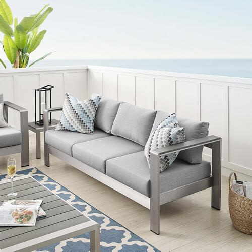 Shore Sunbrella® Fabric Aluminum Outdoor Patio Sofa in Silver Gray