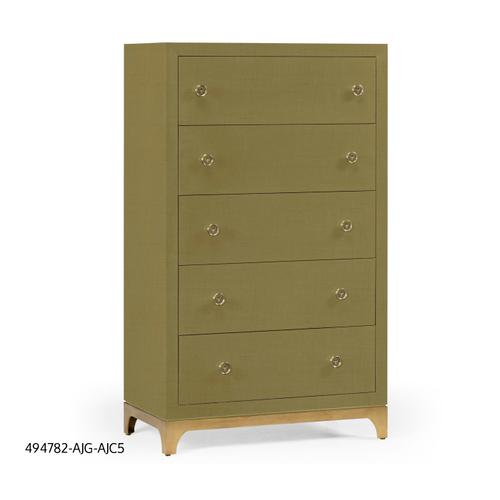 Tall chest with blazer buttons (Sage/Gold)