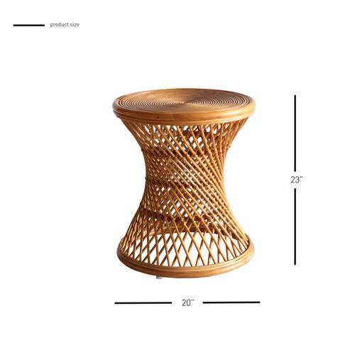 Kirby Rattan Round Side/ End Table, Canary Brown