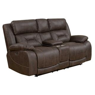 Harper Power Headrest Reclining Console Loveseat, Brown
