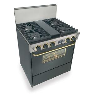 """30"""" Dual Fuel, Convect, Self Clean, Sealed Burners, Black with Brass"""