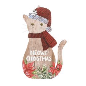 Cat Plaque - Meowy Christmas