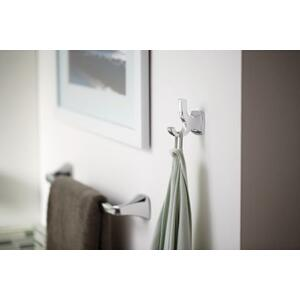 Voss brushed nickel double robe hook