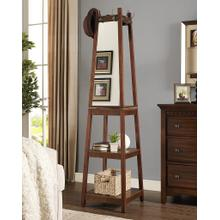 Vassen Walnut Swivel Coat Rack with 3-Tier Storage and Mirror Shelves