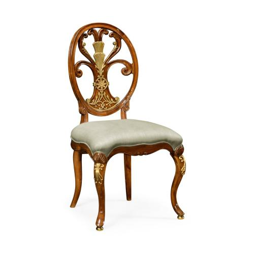 Carving Oval Back Side Chair Fabric Seat (MAZO)