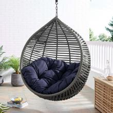 Garner Teardrop Outdoor Patio Swing Chair Without Stand in Gray Navy